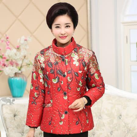 【Maya 風姿】花與葉印花鋪棉保暖外套-紅色