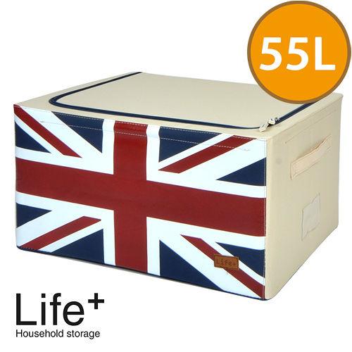 【Life Plus】彿雷格國旗鋼骨收納箱-英國55L(米白)