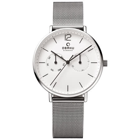 OBAKU  丹麥皇家簡約雙眼時尚腕錶-白x米蘭錶帶