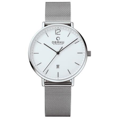OBAKU    極致簡約時尚日期腕錶-銀米蘭帶