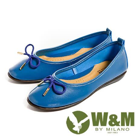 W&M (女)日系甜美蝴蝶結造型平底娃娃鞋-藍