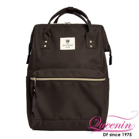 DF Queenin日韓 - 日本熱銷寬口大容量手提後背包-咖啡