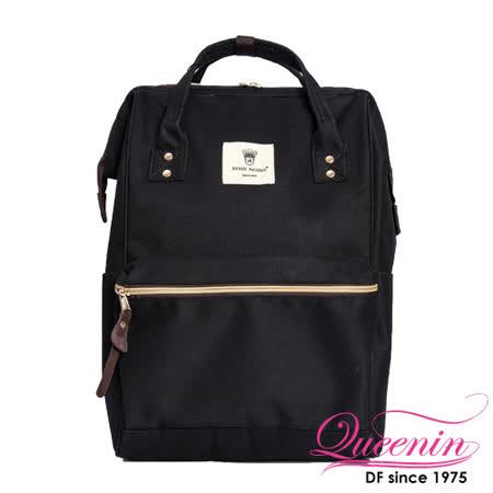 DF Queenin日韓 - 日本熱銷寬口大容量手提後背包-黑色