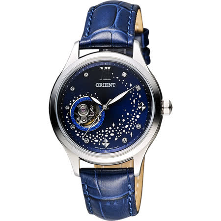 ORIENT 東方錶 湛藍銀河鏤空機械錶-藍/35mm FDB0A009D