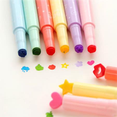 【PS Mall】糖果印章固體螢光筆 彩色重點筆_2隻 (J701)