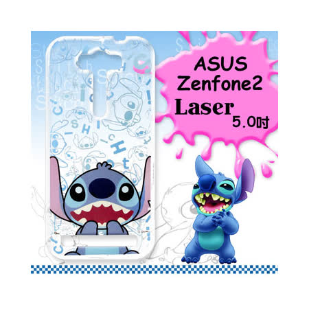 迪士尼授權正版ASUS Zenfone 2 Laser 5.0吋 ZE500KL 大頭系列透明手機軟殼(摀嘴史迪奇)