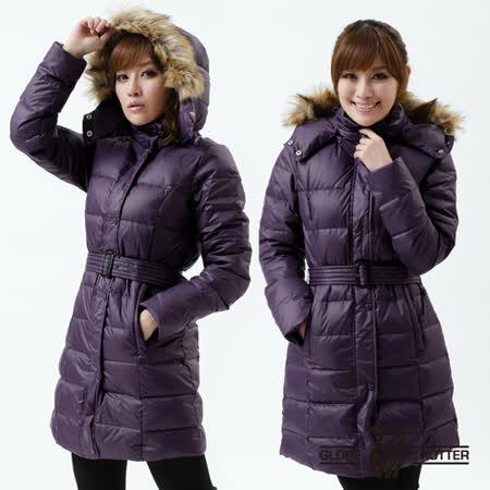 【遊遍天下】禦寒極暖JIS90%羽絨長版顯瘦連帽羽絨外套A027暗紫