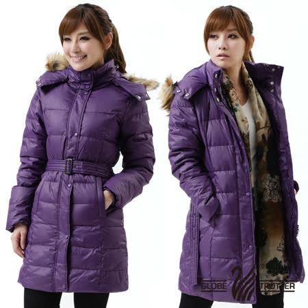 【遊遍天下】禦寒極暖JIS90%羽絨長版顯瘦連帽羽絨外套A027深紫