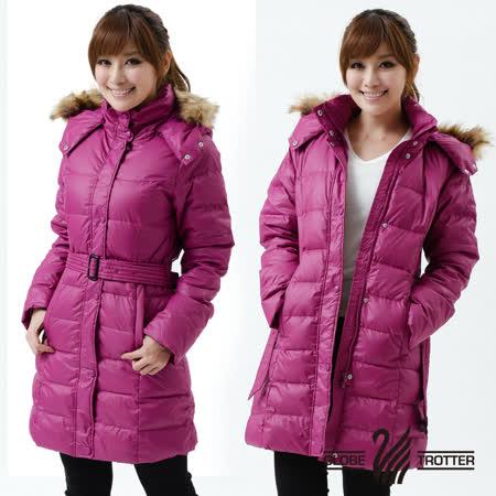 【遊遍天下】禦寒極暖JIS90%羽絨長版顯瘦連帽羽絨外套A027紫紅