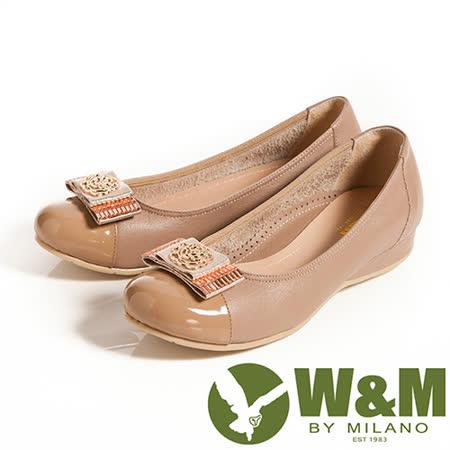 W&M (女)立體花編造型寬帶蝴蝶結優雅舒適低跟鞋-卡其