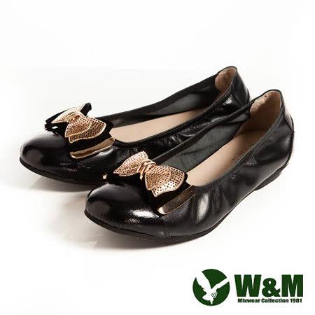 W&M (女)金屬片蝴蝶結優雅時尚好穿搭柔軟平底鞋-黑