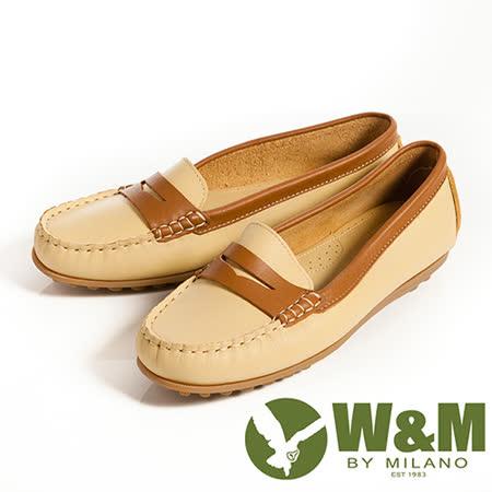 W&M (女)俏皮配色柔軟可水洗防滑鞋底豆豆鞋莫卡辛鞋女鞋-黃