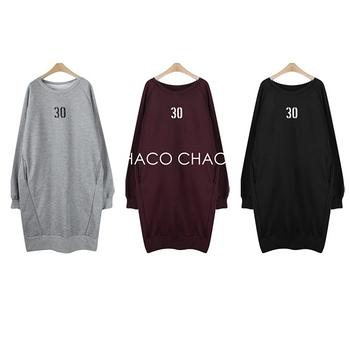 【預購CHACO韓國】正韓 BINGS 韓製no.30內刷毛長袖連身長版裙OA05(3色)