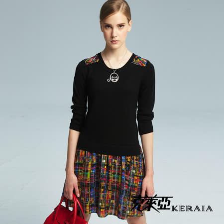 克萊亞KERAIA 針織拼接5分袖洋裝