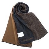 Calvin Klein CK 雙色斜紋編織圍巾-黃褐色