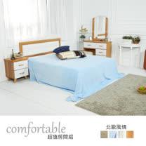 HAPPYHOME 黛娜北歐床片型4件房間組-床片+掀床+床頭櫃1個+鏡台1WG5-1+501A+3W+4W二色可-不含床墊
