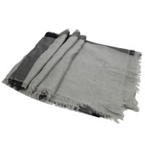 BURBERRY 英系經典格紋羊毛虛虛披肩圍巾/絲巾.灰/深灰