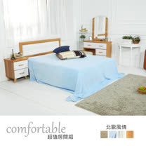 HAPPYHOME 黛娜北歐床片型4件房間組-床片+床底+床頭櫃1個+鏡台1WG5-1+5031+3W+4W二色可選-不含床墊