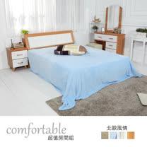 HAPPYHOME 黛娜北歐床箱型4件房間組-床箱+掀床+床頭櫃1個+鏡台1WG5-2+501A+3W+4W二色可選/不含床墊
