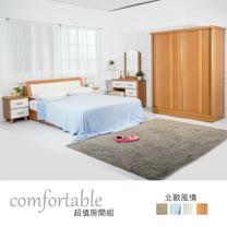 HAPPYHOME 達恩北歐床箱型6件房間組-床箱+床底+床頭櫃2個+鏡台+衣櫃1WG5-41G+2+(3W*2)+4W二色可選-不含床墊