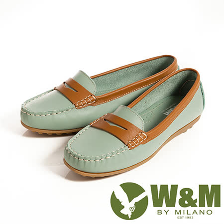 W&M (女)俏皮配色柔軟可水洗防滑鞋底豆豆鞋莫卡辛鞋女鞋-淺藍