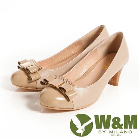 W&M (女)迷人亮眼亮鑽金屬蝴蝶結舒適透氣軟墊中跟淑女鞋-卡其