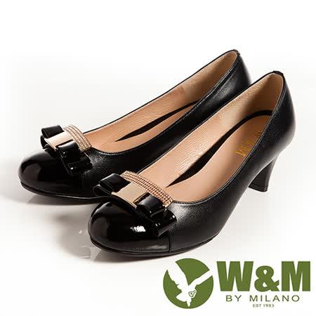 W&M (女)迷人亮眼亮鑽金屬蝴蝶結舒適透氣軟墊中跟淑女鞋-黑