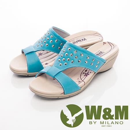 W&M (女)圓錐鉚釘造型淑女拖鞋女鞋-藍
