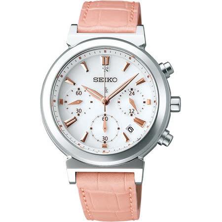 SEIKO LUKIA Solar「我的甜美時尚風」三眼計時太陽能腕錶(粉紅) V175-0AJ0S