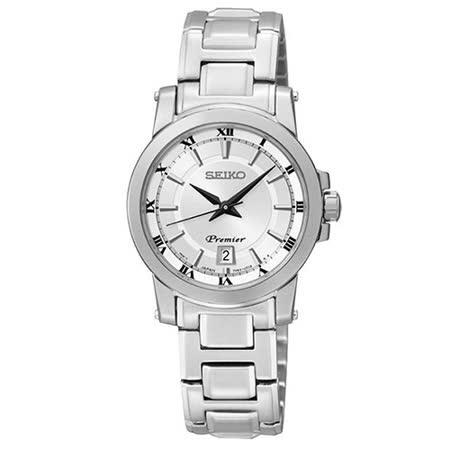 SEIKO Premier 經典羅馬時尚女用腕錶-銀/7N82-0HP0S(SXDF41J1)