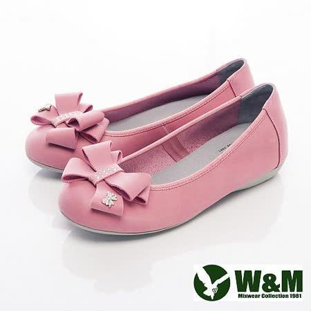 W&M (女)大方蝴蝶結娃娃鞋平底女鞋-桃粉