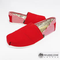 WALKING ZONE (女)條紋側邊 悠閒步伐輕巧國民便鞋女鞋-紅(另有米、黑、藍)