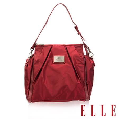 ELLE 法式優雅時尚風貌後背/手提包 百褶淑媛設計款 搭配質感頭層皮-酒紅EL83837B-20