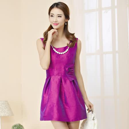 【白色戀人中大尺碼】紫色無袖珠鍊高腰小禮服