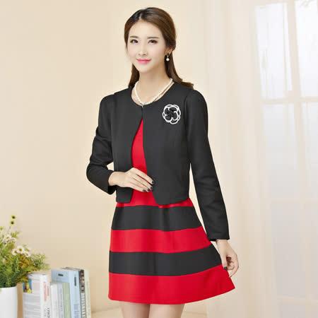 【KVOLL中大尺碼】黑色小外套+條紋背心洋裝