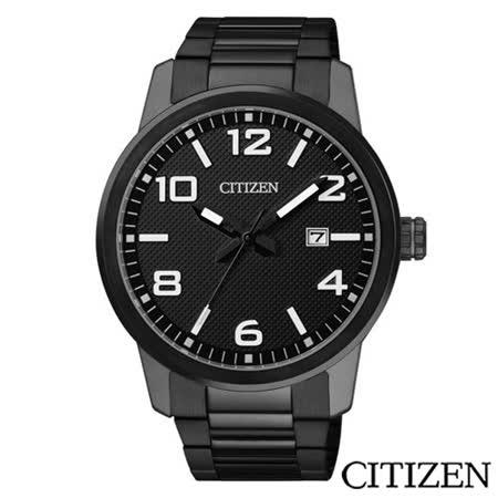 CITIZEN星辰 黑鋼型男時尚指針腕錶 BI1025-53E