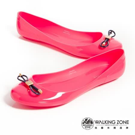 WALKING ZONE (女)韓版蝴蝶結亮麗配色果凍鞋-桃(另有深藍、淺藍、黃、黑)