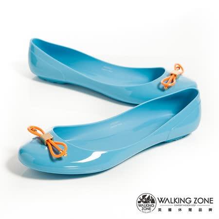 WALKING ZONE (女)韓版蝴蝶結亮麗配色果凍鞋-淺藍(另有深藍、黃、桃、黑)