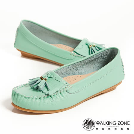 WALKING ZONE (女)流蘇穿繩柔軟莫卡辛鞋女鞋-綠(另有黃、白、桃)