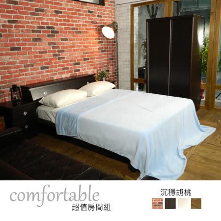 HAPPYHOME 絲特床箱型4件房間組-床箱+床底+床頭櫃1個+衣櫃1WG5-5W四色可選