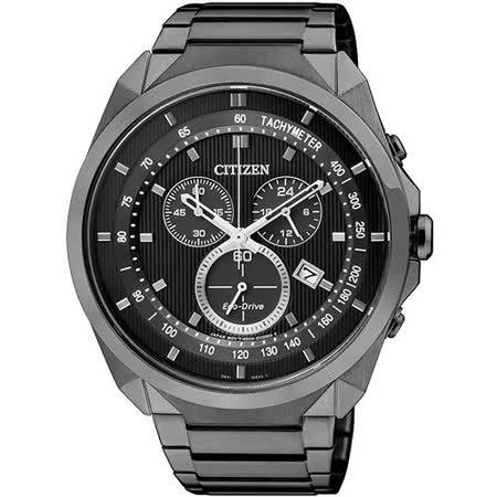 CITIZEN Eco-Drive 挑戰極限 光動能計時腕錶(IP黑-AT2155-58E)