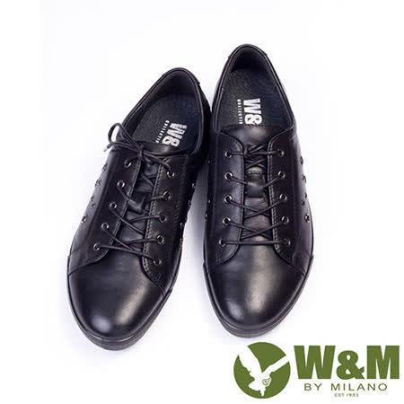 W&M (女)SOFIT 真皮綁帶舒適透氣中性休閒鞋-黑