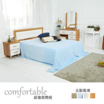 HAPPYHOME 貝絲北歐床片型4件房間組-床片+床底+床頭櫃1個+床墊1WG5-1+5031+3W+GA18-5二色可選