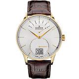 Edox Les Vauberts 紳士日曆小秒針石英錶-銀x金框/41mm E34005.37JA.AID