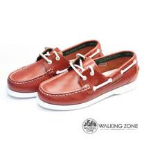 WALKING ZONE (女)英倫真皮手工車縫帆船鞋(紅)