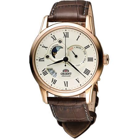 【網購】gohappy線上購物ORIENT 東方錶 SUN&MOON系列羅馬數字日月相機械錶-米x玫瑰金框/42.5mm SET0T001W有效嗎屏 東 太平洋 百貨