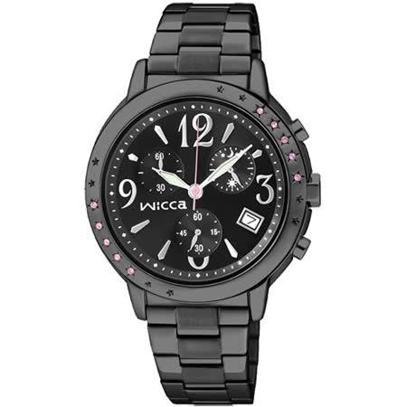 CITIZEN wicca 夢幻星空施華洛世奇系列計時腕錶-IP黑/34mm BM1-148-51