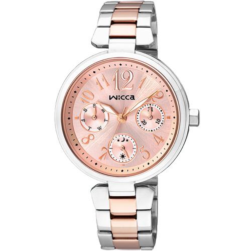 CITIZEN wicca 甜蜜時刻日曆腕錶~粉紅x雙色版33mm BH7~431~91