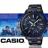 CASIO OCEANUS GPS混合電波接鈦金屬時尚男用腕錶-黑藍/OCW-G1100B-1A
