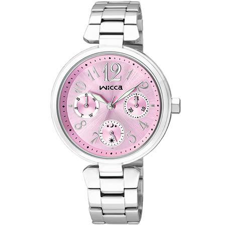 CITIZEN wicca 甜蜜時刻日曆腕錶-粉紅x銀/34mm BH7-415-91